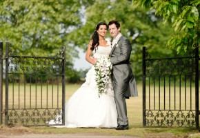 Bride-Groom-In-the-garden-at-Wherstead-Park